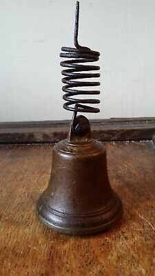 Antique Cast Brass / Bronze Bell - Door / Shop / Servants - Iron Top Spring