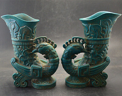 Chinese Old Pair Marked Peacock Green Glaze Carve Phoenix Pattern Porcelain Cups
