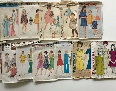 13 Packs Vintage Dress Making Patterns For Ladies, Teens, Child - As Found