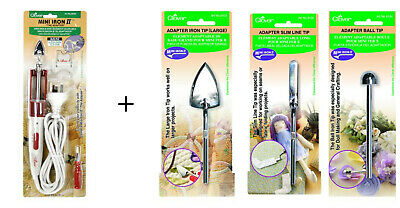 CLOVER Mini Iron II Crafts Quilting Sewing Patchwork Vinyl + 3x Adapter Tips