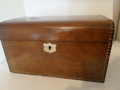 Antique Victorian wood jewellery sewing or work box FOR RESTORATION