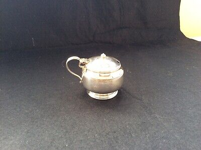 Silver plate Mustard pot 71.74g, with blue glass liner. C.1894