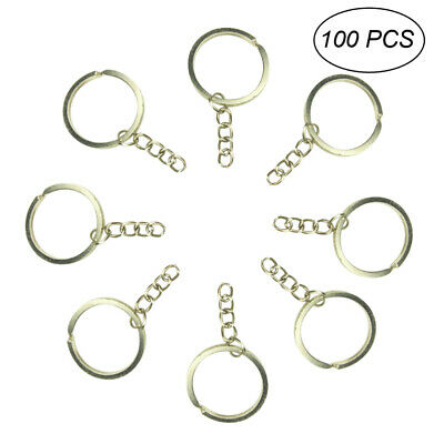 100x  Blank Hoop Short Chain Stainless Steel Split Ring Holder Keychain Key Ring
