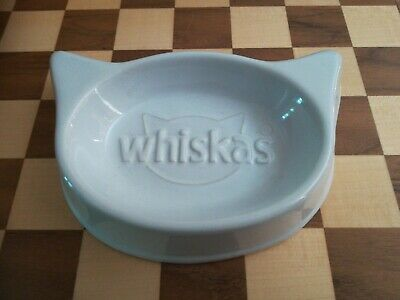 White Ceramic WHISKAS Cat Food Bowl / Water Dish LIMITED EDITION