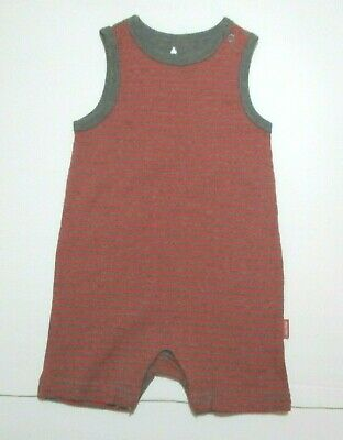 New Nwt Infant Boys Baby Gap Red & Gray Striped Ribbed Tank Shortall Outfit 3-6M