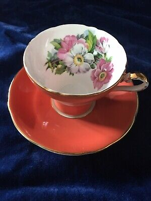 BEAUTIFUL AYNSLEY  ORANGE TEACUP SAUCER with  PINK FLOWERS and Gold Gilding
