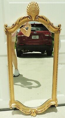 """Large 38"""" Vintage Ornate Carved Wood Gold Gilt Seashell Hanging Wall Mirror 5785"""