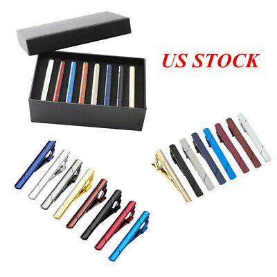 Mens Business Stainless Steel Ties Necktie Clasp Pin Tie Clip Bar Tacks Set Gift