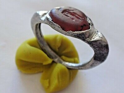 Roman Silver Ring with Gem. ,2 - 3 century AD 4,15 gr/26-20/ 19-14mm 1323