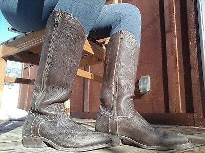 70d24857ecb WOMENS FRYE BILLY Tall Double Zip Knee-High COWBOY BOOTS TAN LEATHER ...