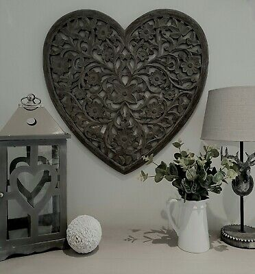 Large Grey Ornate Wooden Hand Carved Heart Wall Art Panel By Retreat