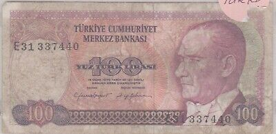 (N36-88) 1970 Turkey 100 Lira bank note (CN)