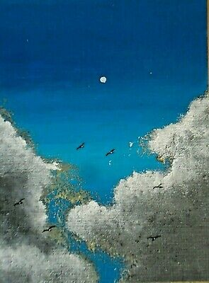 ACEO ORIGINAL Acrylic Clouds Seagulls Sky Cloudscape Miniature Painting HYMES