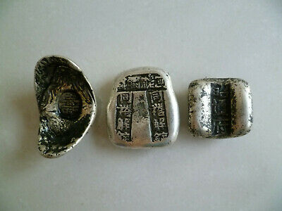 Old Chinese Handwork Miao Silver Carving Qing Dynasty 3 Piece Silver Bar