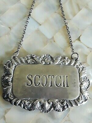 Vintage Sterling Silver Scotch Liquor Decanter Tag W Chain 17g