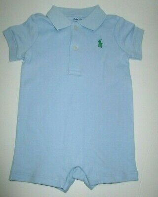 New Nwt Infant Boys Ralph Lauren Light Blue Combed Shortall Outfit Size 3 Months
