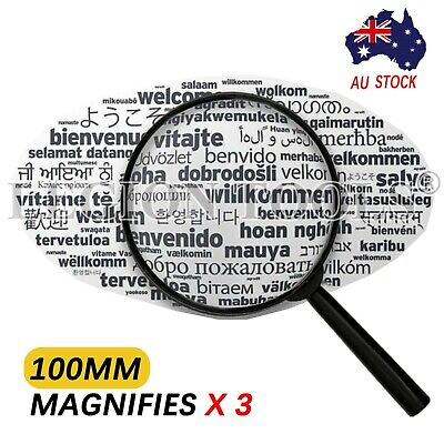 Magnifying Glass Large 10cm X3 High Optical Clarity Lens handheld handle Loupe