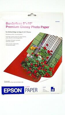 Epson Borderless 8x10 Premium Glossy Photo Paper - 20 Sheet - Pack S041465