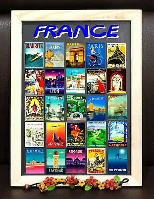 Paris France Monaco Fridge Magnet Poster Vintage Retro Cute Art Gift Set 1