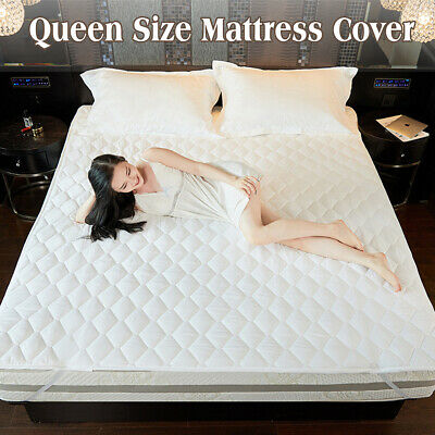 Queen Size Fully Fitted Waterproof Cotton Bed Mattress Protector Cover White