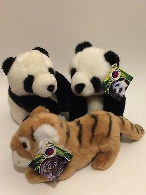 Tiger and Two Pandas, soft toys, plush, West Midlands Safari Park, zoo animals