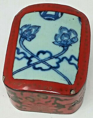 Chinese Red Lacquer Box with 18th Century Blue White Porcelain Cover