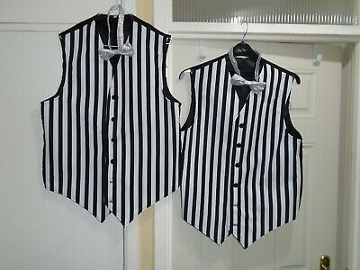 Mens stripe waist coats x 2 meduim size with bow ties theatre