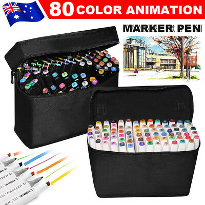 80 Colour Set Marker Pen Tips Fine Broad Touch New Graphic Art Five Sketch