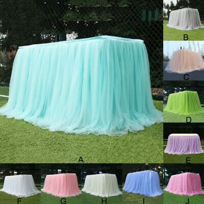 CA Multi-Color Tulle Tutu Table Skirt For Wedding Party Xmas Baby Shower Decor