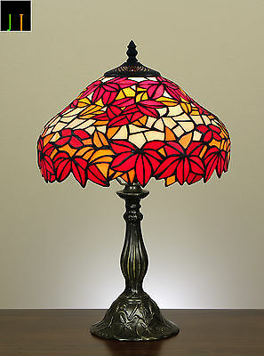 Winter Clearance Tiffany Style Red Maple Leaf Stained Glass Table Desk Lamp Art