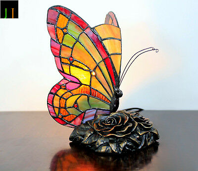Winter Clearance Tiffany Red Butterfly Art Stained Glass Table Lamp Leadlight