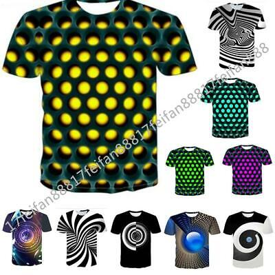 2019 Funny Hypnosis 3D Print Mens Women Casual Short Sleeves Tops Tee