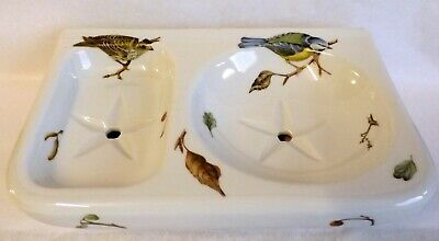 Limoges Porcelain Large Double Soap Dish, Wall Mounted, Decorated With Birds