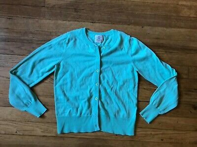 Lands' End Kids Girls Size Large 14 Mint Green Cardigan Button Front Sweater