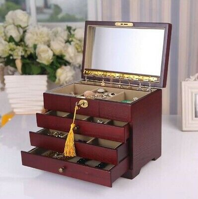Wooden Jewellery Box Necklace Storage Lock Key Mirror Organiser Red