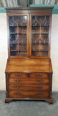 Good Quality Reproduction Mahogany Bureau Bookcase