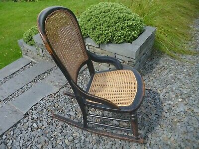 Antique Victorian Wooden Rocking Chair with Caning Weave - Wood & Cane