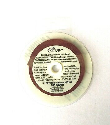 Clover Fusible Bias Tape 1/4 Inch (6mm) Wine 5 Metres (700/1165)