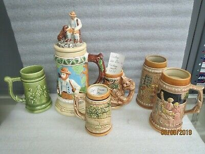 Ceramic vintage collectible beer steins-NEW Lot of 6 steins