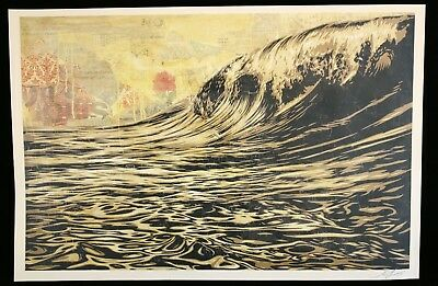 SHEPARD FAIREY  DARK WAVE LITHOGRAPHIE offset SIGNEE OBEY GIANT MINT