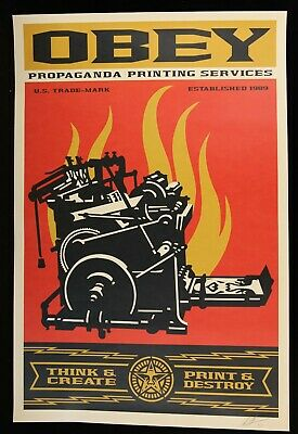 SHEPARD FAIREY ♦ Printing Press ♦ LITHO OFFSET SIGNEE OBEY GIANT MINT 92 x 61 cm