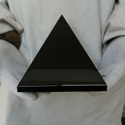 "7.3LB 6"" Natural Reiki Energy Charged Black Obsidian Pyramid Crystal Healing"