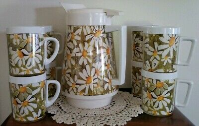ThermoServ Daisy Drink-ware Set ~ Vintage Insulated Pitcher and 8 Mugs
