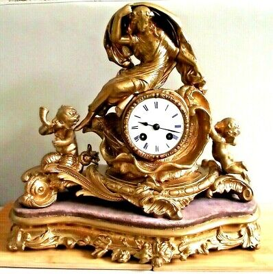 Antique Mantel Clock cherubs french  metal Pendulum key