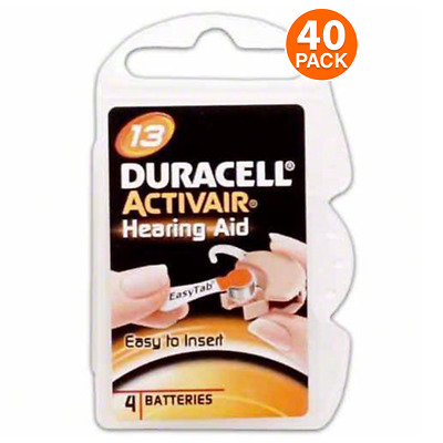 Duracell Size 13 Hearing Aid Battery, 10 x 4 Packs Closeout Sale (40 Batteries)