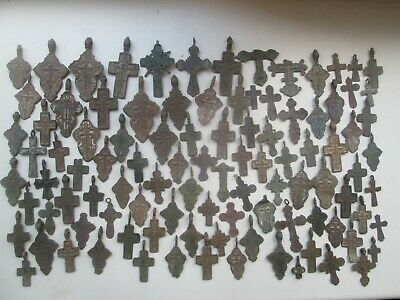 Metal detector finds.Mix lot ancient crosses (10-19 th century) 100 pieces.