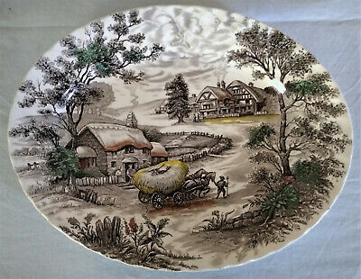 "Staffordshire England YORKSHIRE Ironware 14"" Oval Serving Platter Farm - Cottage"