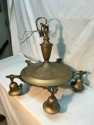 Vintage Brass 5 Arm Pan Style Hanging Chandelier Light Fixture Art Deco Working