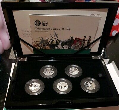 ROYAL MINT 50 Years Of The 50p Military Silver Proof 50p Coin Set Low Mintage