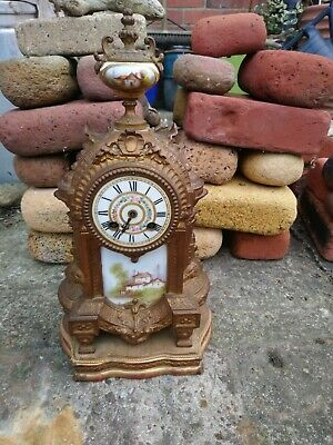 Japy Freres Gilt Metal And Porcelain Boudoir Clock For Restoration